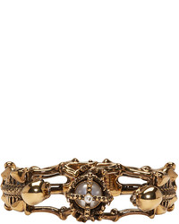Alexander McQueen Gold Two Skeletons Bracelet