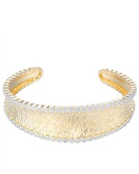 Joolwe 18k Gold Over Sterling Silver Diamond Accent Scalloped Cuff Bracelet