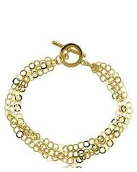 Joolwe 18k Gold Over Sterling Silver Multi Strand High Polish Open Link Bracelet