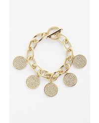 Lauren Ralph Lauren Pave Disc Chain Bracelet Gold Clear