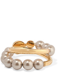 Marni Gold Tone Faux Pearl Bracelet One Size