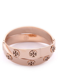 Tory Burch Metal Logo Double Wrap Bracelet