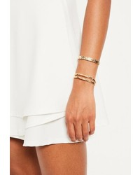 Missguided Gold Metal Bracelet Set