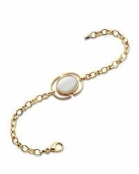 Monica Rich Kosann Mother Of Pearl Locket Station Bracelet In 18k Yellow Gold