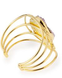Devon Leigh Open Druzy Agate Wire Cuff Bracelet Gold