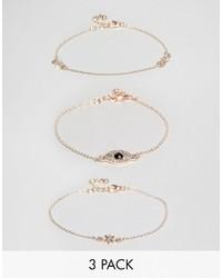 Asos Pack Of 3 Fine Crystal Charm Bracelets