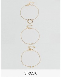 Asos Pack Of 3 Fine Open Circle And Faux Opal Stone Bracelets