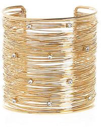 River Island Gold Tone Multi Wire Encrusted Cuff Bracelet