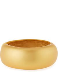 Kenneth Jay Lane Satin Finished Golden Hinged Bangle Bracelet