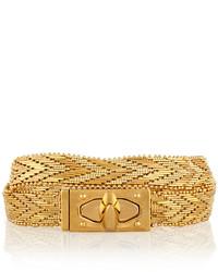 Givenchy Shark Lock Gold Tone Wrap Bracelet