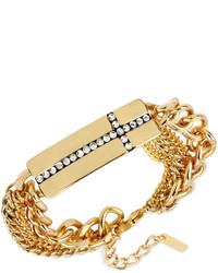 Steve Madden Gold Tone Pav Cross Bar Multi Chain Bracelet