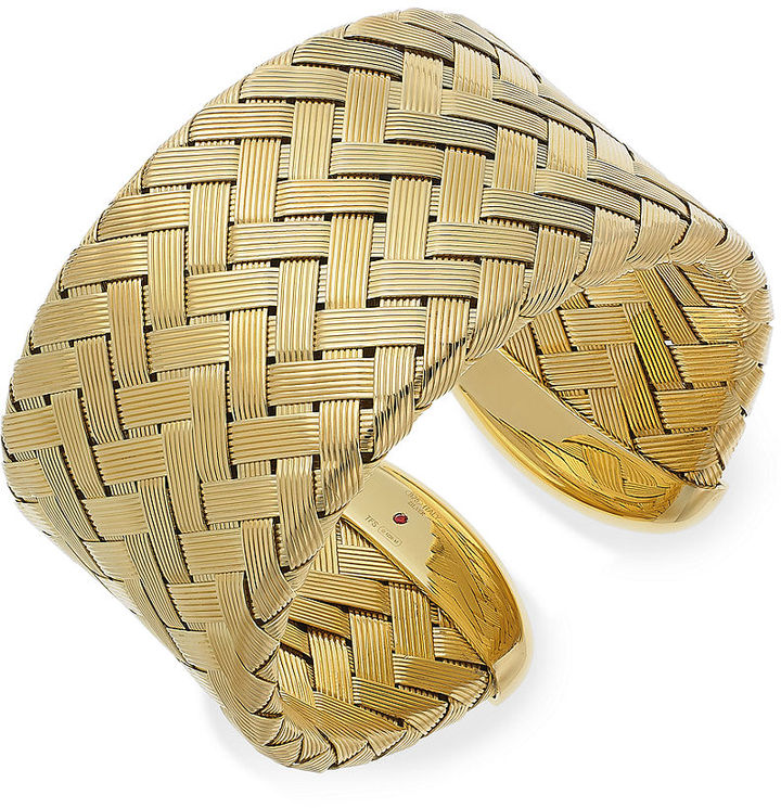 Roberto Coin The Fifth Season By 18k Gold Over Sterling Silver Bracelet Extra Large Woven Cuff