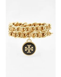 Tory Burch Leather Woven Chain Wrap Bracelet Gold Gold