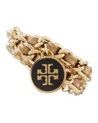 Tory Burch Metallic Leather Chain Bracelet Gold