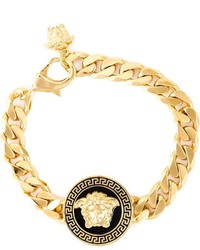 Versace Black And Gold Logo Tag Bracelet Out Of Stock Medusa