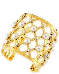 Tory Burch Wide Lattice Pearly Cuff