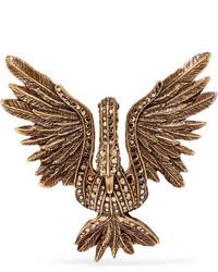 Lanvin Antiqued Gold Tone Crystal Brooch