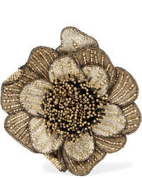 Etro Beaded Corduroy Brooch Gold