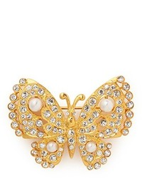 Nobrand Crystal Pav Faux Pearl Butterfly Brooch