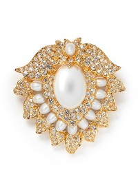 Kenneth Jay Lane Crystal Pearl Lotus Brooch