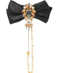 Dolce & Gabbana Satin Gold Tone And Swarovski Crystal Brooch One Size