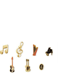 Dolce & Gabbana Set Of Seven Enameled Gold Tone Brooches One Size