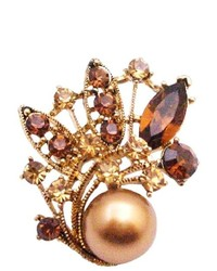 FashionJewelryForEveryone Bronze Pearls Prom Flower Girl Bridemaids Holiday Gift Smoked Brooch