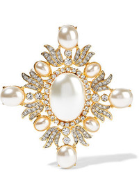 Kenneth Jay Lane Gold Plated Crystal And Faux Pearl Brooch One Size