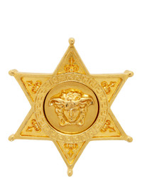 Versace Gold Sheriff Medusa Badge Brooch