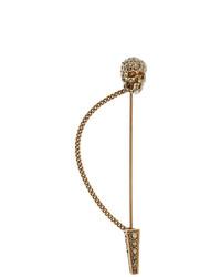 Alexander McQueen Gold Skull Pin Brooch
