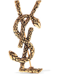 Saint Laurent Gold Tone Brooch
