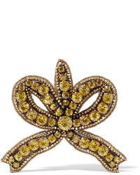 Gucci Gold Tone Crystal Brooch