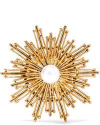 Oscar de la Renta Gold Tone Faux Pearl Brooch