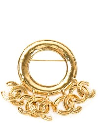 Chanel Vintage Cc Fringed Brooch