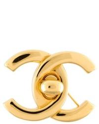 Chanel Vintage Turn Lock Logo Brooch