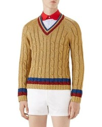 Gucci Cable Knit V Neck Sweater