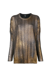 Metallic cable knit sweater medium 8495731