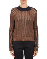 3.1 Phillip Lim Metallic Coated Knit Pullover Sweater