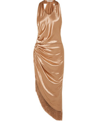 Helmut Lang Fringed Gathered Satin Midi Dress