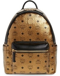 MCM Small Stark Metallic Coated Canvas Backpack