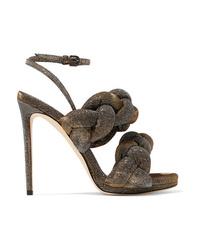 Marco De Vincenzo Braided Textured Lam Sandals