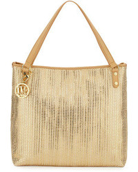 Love Moschino Borsa Metallic Woven Pvc Tote Bag Goldbeige