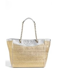 Tory Burch Fleming Woven Tote Gold