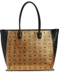 MCM Visetos Metallic Coated Canvas Shopper