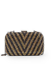 Saks Fifth Avenue RED Jeweled Chevron Clutch