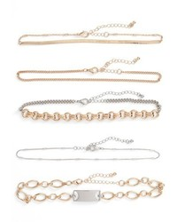 Leith 5 Pack Mixed Metal Chokers