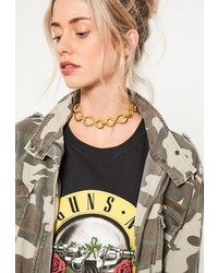 Missguided Gold Chain Link Choker Necklace