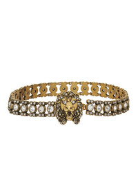 Gucci Gold Crystal Lion Head Choker