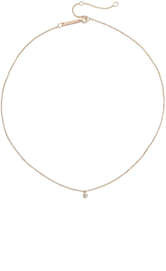 Zoë Chicco 14k Gold One Diamond Chain Choker Necklace waJpUr2Ijq