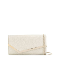 Jimmy Choo Platinum Ice Silver And Gold Tone Emmie Clutch